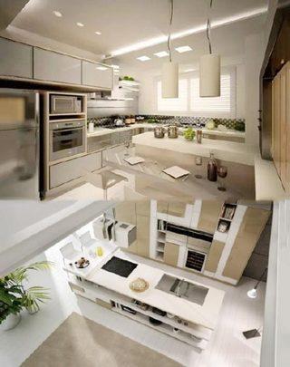 极简开放式厨房装修装饰效果图