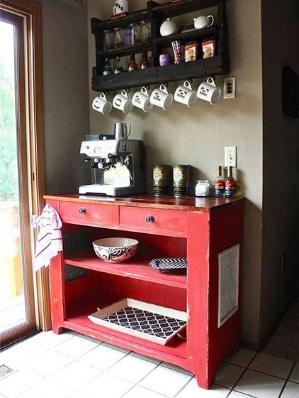 红色木质咖啡桌设计图