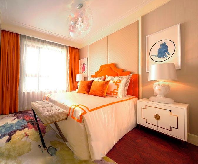 甜美橙色混搭风卧室效果图