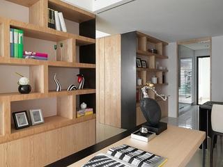 原木风格三室两厅装修书房效果图