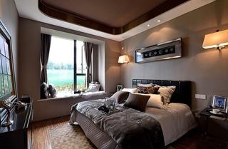 高贵现代简约风 巧克力色卧室设计