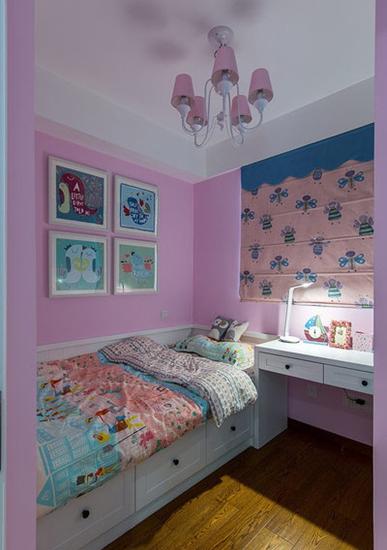 梦幻北欧风 粉紫色儿童房效果图