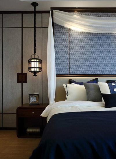 清爽地中海风情卧室 床头吊灯效果图