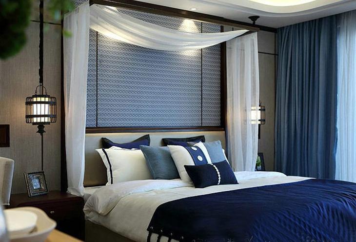 蓝色地中海风情卧室 床头窗帘效果图