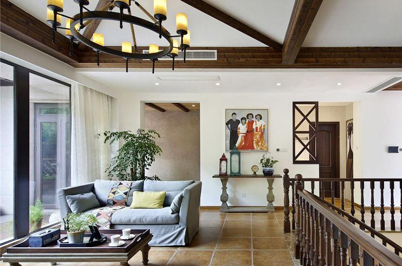 420平美式乡村别墅客厅沙发图片