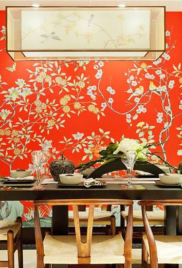 东南亚风格 橙红色餐厅背景墙设计