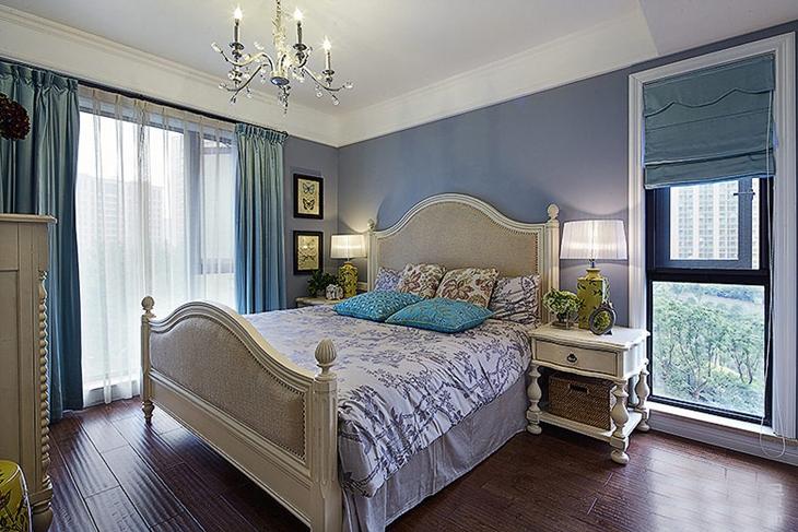 140平美式风格装修卧室实景图