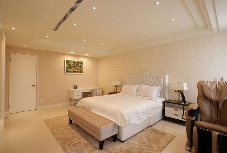 浪漫裸色调美式卧室效果图