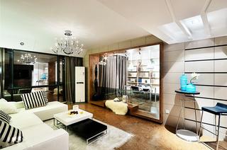 120平现代简约三居客厅效果图