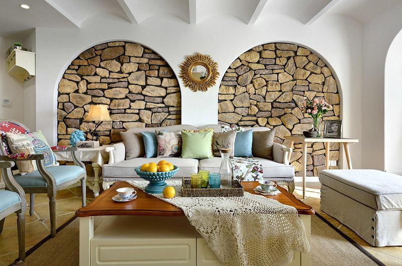 文艺地中海风客厅 文化石背景墙设计