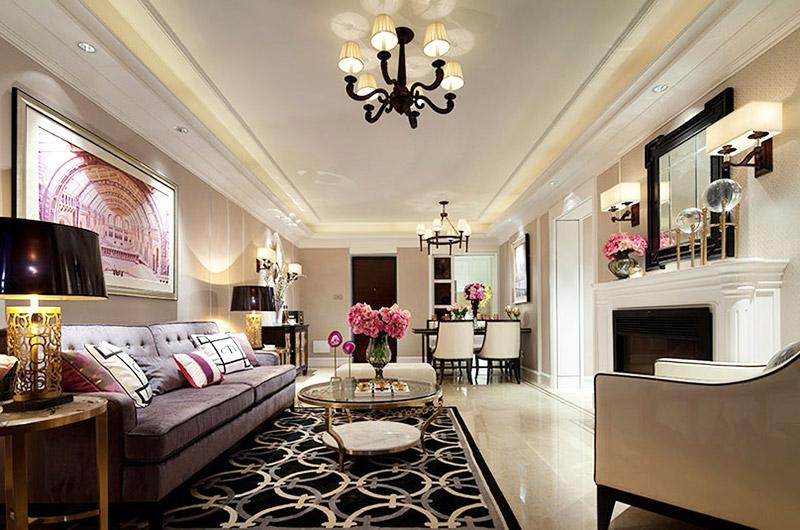 120平的现代美式风房子,电视背景墙做个矮墙更显宽敞!