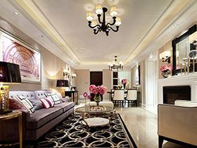120平现代美式风格样板房装修 铿锵玫瑰