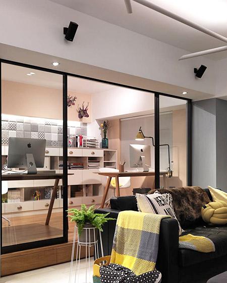 85平北欧风格两居室玻璃隔断效果图