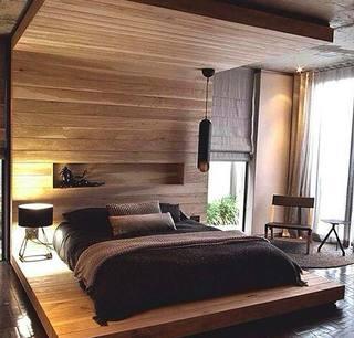 木色卧室摆放效果图