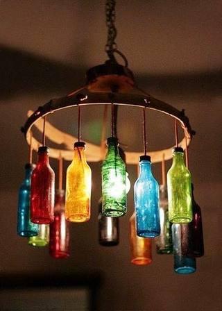 DIY瓶子灯布置图片