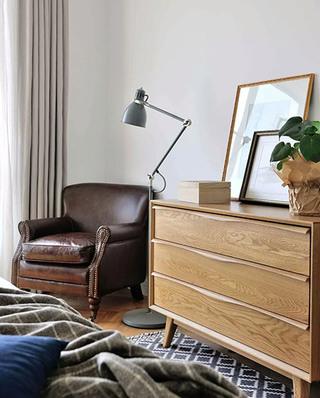 120平北欧两居室卧室展示柜设计图