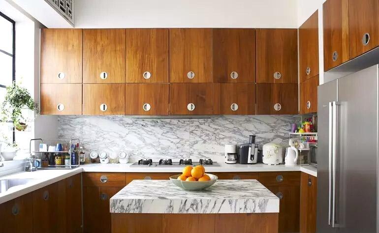 自然混搭风厨房 实木橱柜效果图