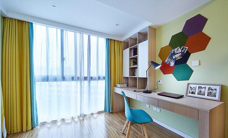 彩色北欧风儿童书房 多边形背景墙设计