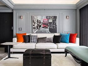 120平美式四房装修效果图 现代遇到古典