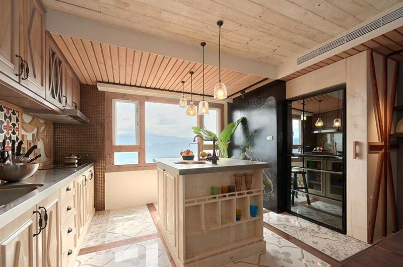 北欧风开放式厨房 中岛隔断效果图图片