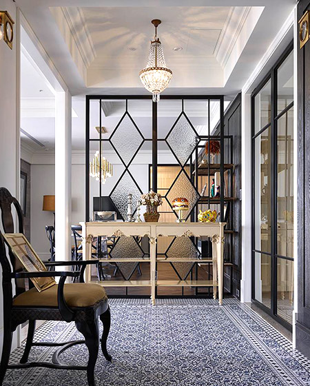欧美室内装修复古美式门厅隔断效果图