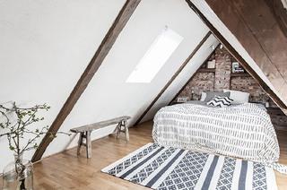 复古森系北欧风公寓 阁楼卧室效果图
