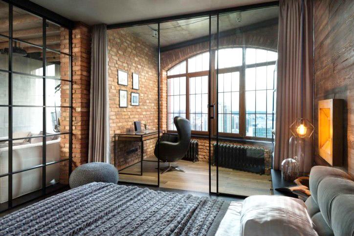 工业风格公寓卧室玻璃隔断图