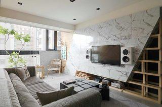 混搭风客厅 大理石电视背景墙设计