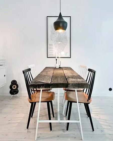 工业风格餐厅木质餐桌图