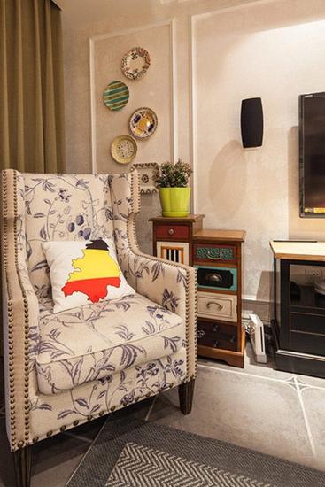混搭风格小户型公寓单人沙发图片