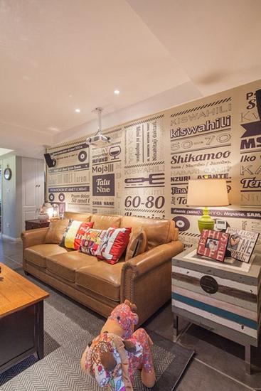混搭风格小户型公寓真皮沙发图片