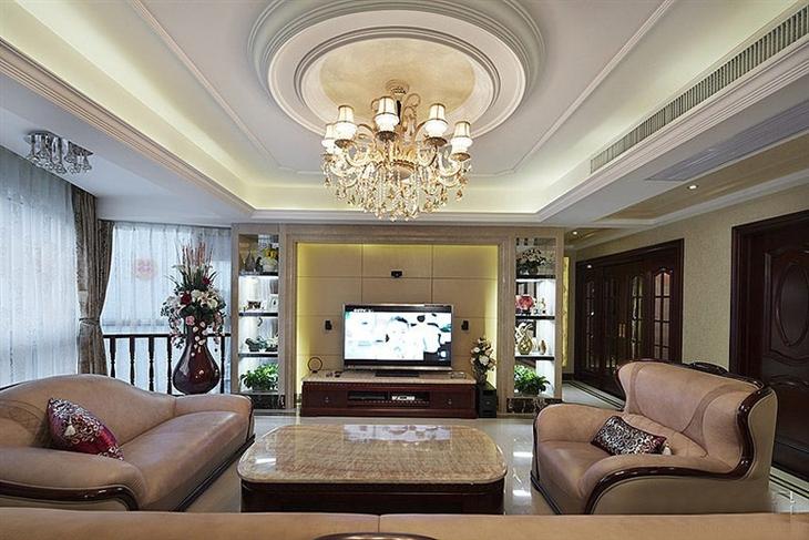 高端复古欧式客厅吊顶装饰图
