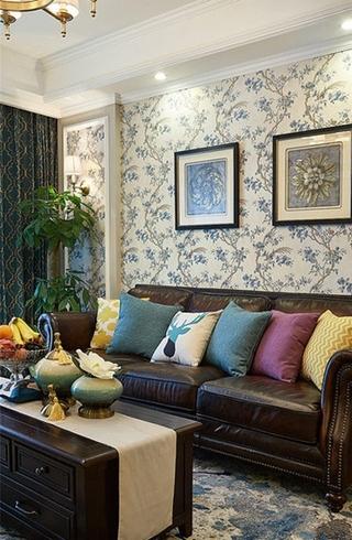 美式风格二居室装修真皮沙发图片