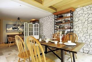 美式风格复式公寓装修餐厅效果图