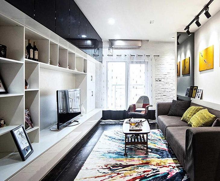 混搭风格小户型装修客厅电视柜图片