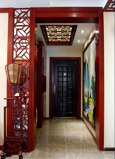 浪漫典雅中式 玄关雕花隔断设计