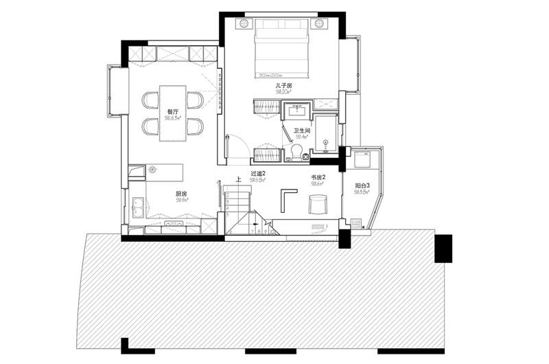 200平错层复式楼原始户型图