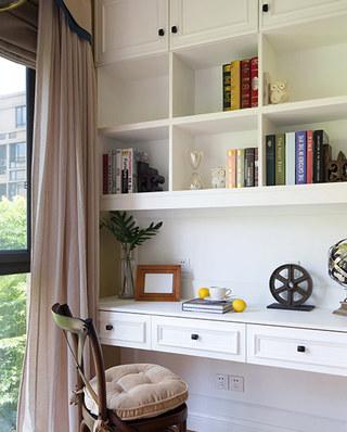 100平美式三居室阳台书房设计