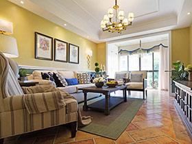 100平美式风格三室两厅装修 清爽芥末味
