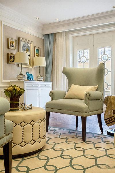 华丽美式皮艺单人沙发效果图