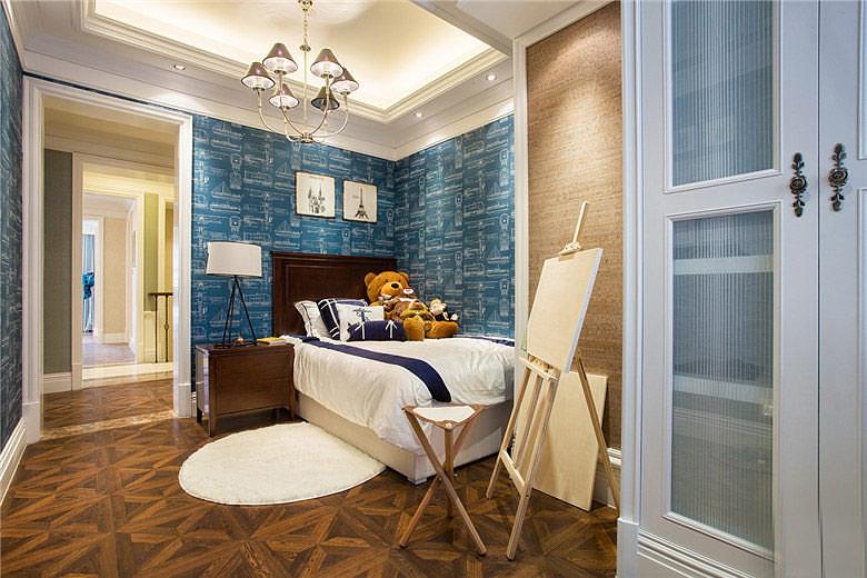 海蓝色美式卧室装饰效果图