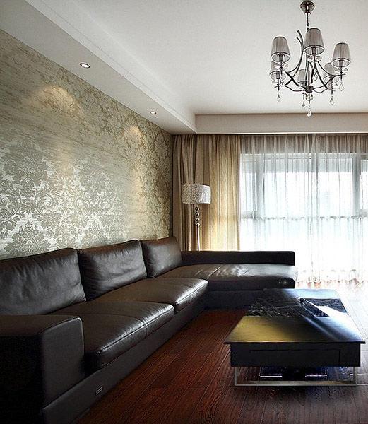 美式风格装修三居室真皮沙发效果图