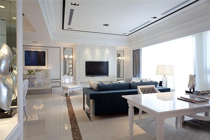 欧式风格装修三居室客厅效果图