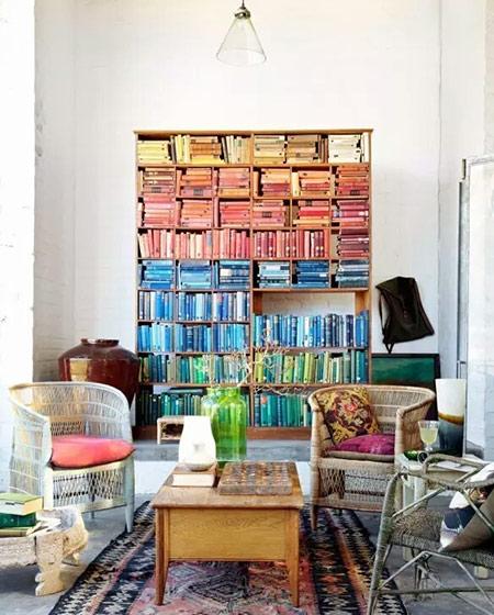 客厅背景墙装修书架图片