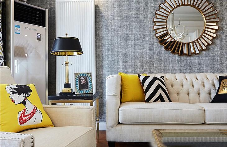 新古典风格三居室装修沙发背景墙
