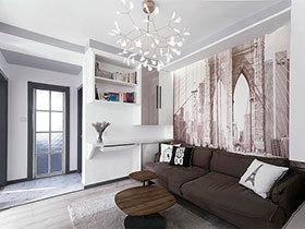 100㎡现代简约两居室效果图  宁静的城市家