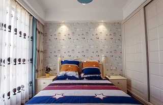 美式风格三居装修儿童房壁纸图片