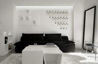 黑白调演绎新时尚 简约风格两室两厅效果图4/9