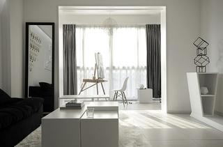 黑白调演绎新时尚 简约风格两室两厅效果图5/9