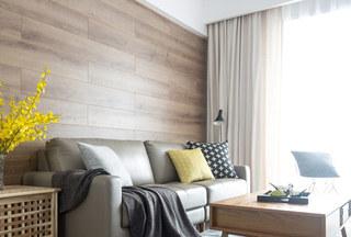 森系北欧风客厅 原木背景墙设计